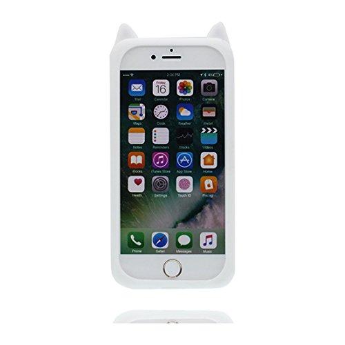 iPhone 6S Plus Custodia, morbida guarnizione TPU in gomma antigraffio protettiva Case copertura per iPhone 6s Plus /6 Plus 5.5 Cover + tappi antipolvere / Cartoon Progettato 3D Stripe Strawberry bianca