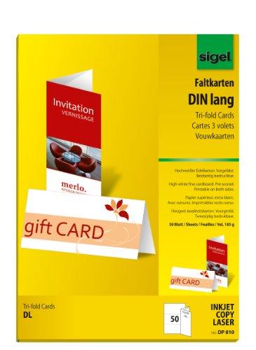 Sigel DP810 Faltkarten DIN lang hochweiß, 50 Stück, 185 g