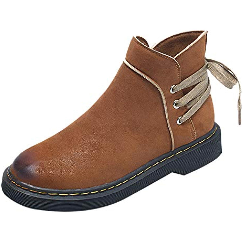 Bottines Talons Lolittas Chaussures à Talons Bottines Bas❤️pour Femmes avec Bout Rond Et Garder Au Chaud - B07K2VV5BD - 345395