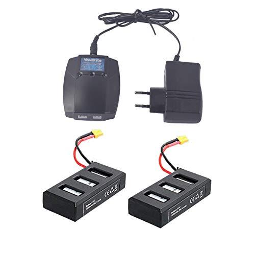 YouCute 2PCS 1300mAh batería y 1 a 2 Cargador para MJX B6 Bugs 6 B6F B6FD RC repuestos de Drones (2PCS baterías + Cargador)