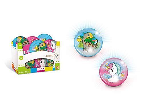 Mondo- Pelota con Luz 10Cm Flash Ball Unicornio (09129), (1)