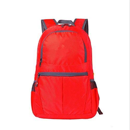 ZYPMM Rucksack im Freien Klapp Rucksack Haut Paketklappung Fahrqualität Original-Single klappbaren tragbaren wasserdicht Rot