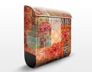 Design Briefkasten Schriftmuster 39x46x13cm Briefkasten Edelstahl