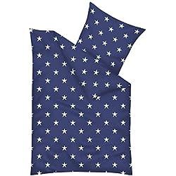 Mikrofaser Bettwäsche-Set mit Sterne Muster - Deckenbezug 155 x 220 cm/Kissenbezug 80 x 80 cm - XXL Bettbezug mit ÖkoTex100 - Bettgarnitur Nicht nur für Kinder und Jugendliche, Farbe:Blau