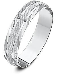 Theia Unisex Heavy Weight, Serrated Matt Centre and Diagonal Design Edge D-Shape 9 ct Gold Wedding Ring