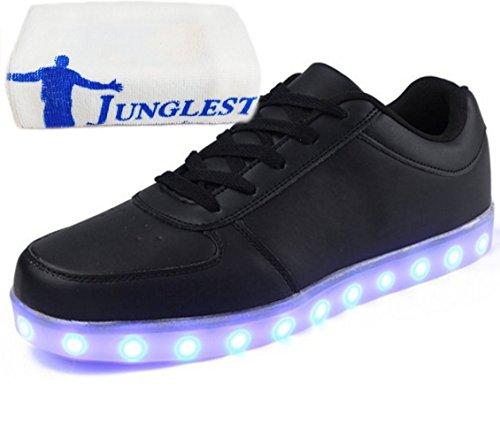 (Présents:petite serviette)JUNGLEST 7 Couleur Unisexe Homme Femme USB Charge LED Lumière Lumineux Clignotants Chaussur Black