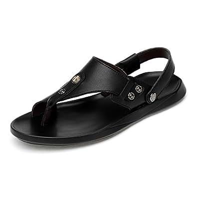 Ruanyi Thong Flip Flops Schuhe, Casual Handarbeit Rutschfeste Weiche Flache Sandalen Aus Echtem Leder Strand Outdoor-Hausschuhe für Männer (Farbe : Black, Size : 43 EU)