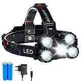 Linterna frontal LED de 15000 Lúmenes, con USB Recargable, 5 Modos de luz, Ligera Elástica, para Ciclismo, Correr, Deportes Nocturnos.