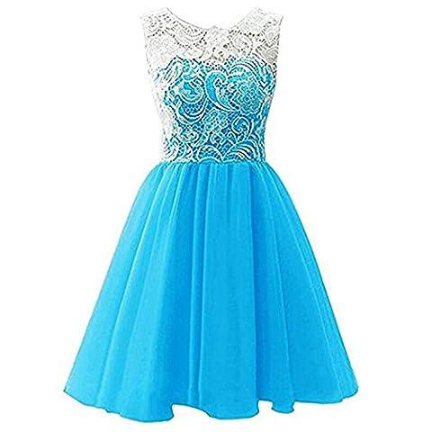 Timlung Kinder Mädchen Spitzenkleid Abendkleid Blumenkleid, Hellblau,