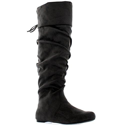 Femmes Equitation Cuisse Haute Hiver Chaussures Mode Grand Pirate Botte  Gris Suède