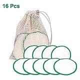SmallPocket Discos Desmaquillantes Reutilizables y Lavables en Bambú 16 Pieza Desmaquillante Facial Almohadillas de Enfermería Almohadillas para Removedor de Cara/Ojos con Bolsa de Lavado