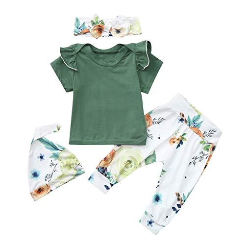 hen Sommer Blumendruck Outfits Sets Toddler Kinder Rundhals Einfarbig Strampler Body + Geblümtes Hosen + Haarband + Hut Neugeborenes Kleinkind Schöne Kleidungsset Vierteiliges ()
