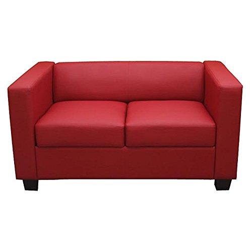 Mendler 2er Sofa Couch Loungesofa Lille ~ Kunstleder, rot (Sofas Rot)