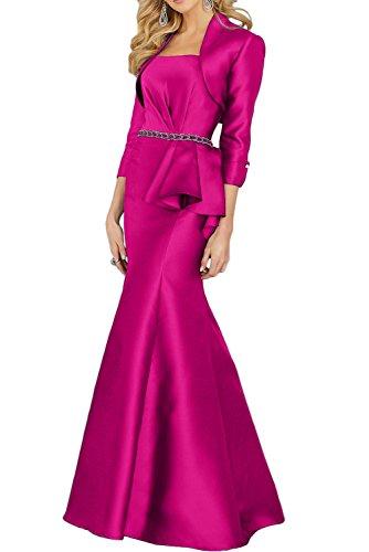 Gorgeous Bride Elegant Trägerlos Meerjungfrau Mit Bolero Brautmutterkleider Lang 2017 Damen Ballkleider Abendkleider Partykleider Cocktailkleider Lang Fuchsia