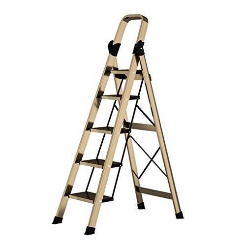 Leiter Aus Aluminium, Haushalt Vierstufige Folding Technik Leiter, Innen Multifunktionale Herringbone Leiter, Hufeisen-Typ Anti-Rutsch-Fuss-Auflage (Color : Five steps)