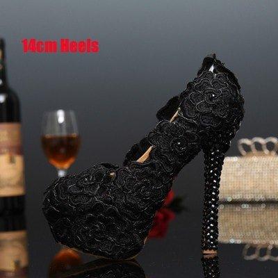 XINJING-S Schwarze Spitze Abendkleid Schuhe Damenschuhe Rose Blume Hochzeit Schuhe Schwarze Spitze hoch Schwarz 14 cm Heels