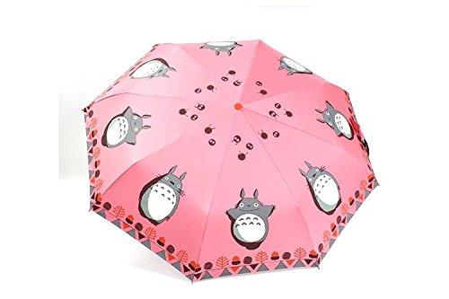 Sasan El anime japonés Hayao Miyazaki chinchilla PARAGUAS paraguas parasol plegable doble vinilo sunscreen creativo,envío Watermelon Red (Chinchilla silver).