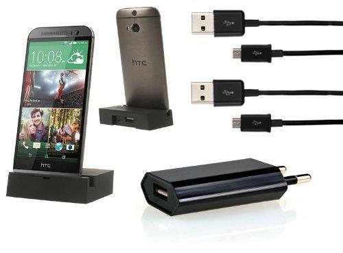 Preisvergleich Produktbild iProtect 4in1 Kabel Set für HTC ONE M8 mit USB Dockingstation Ladestation, Netzteil u 2x Micro USB Ladekabel schwarz