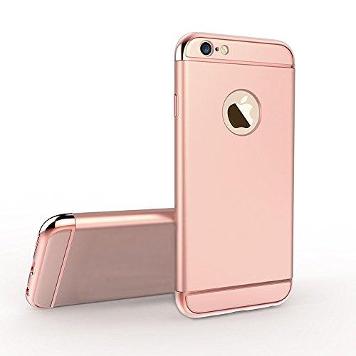 iPhone SE 5S 5 Housses,Housses et étuis téléphones portables, Besta® [Avec anneau Bracket]Ultra-mince 3 en 1 anti-rayures anti-empreintes digitales antichoc Résistez Cracking Electroplated Metal Textu A/Rose Gold