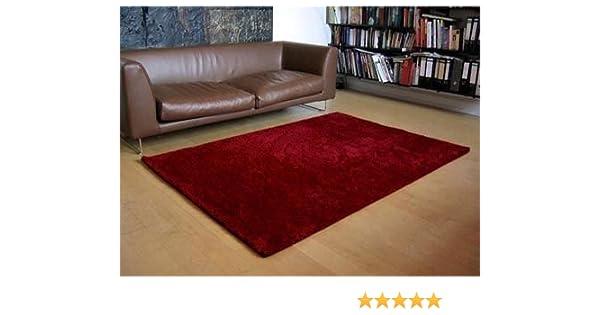 Palace hochflor shaggy teppich weinrot rot in größen amazon