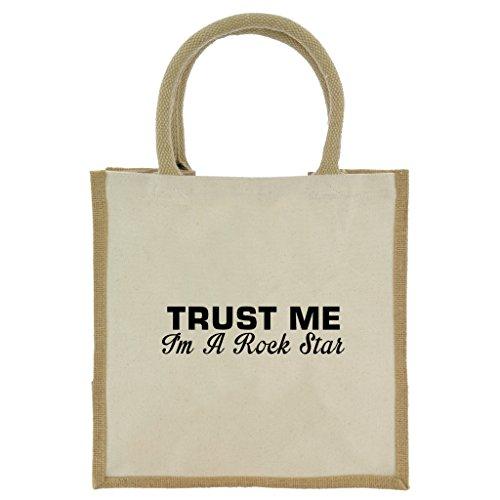 Bon Shopper (Trust Me I 'm A Rock Star in schwarz print Jute Midi Einkaufstasche mit Beige Griffen und Besatz)