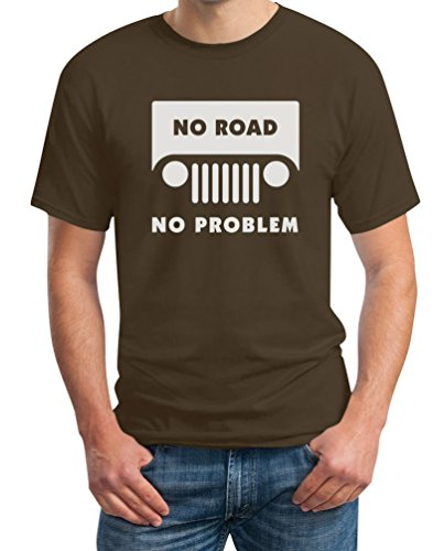 Herren Renegade Motorrad (No Road No Problem Offroad Braun XX-Large T-Shirt - Cooler Biker/Motorrad/Jeep Spruch)