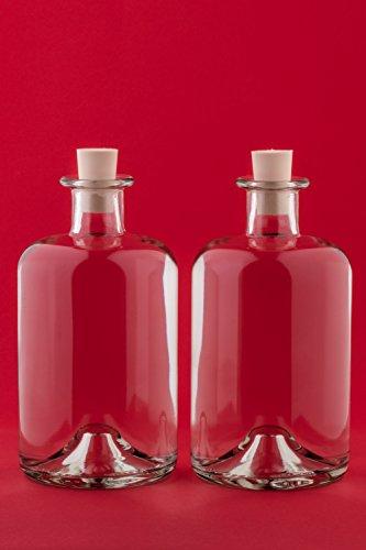 SLK GmbH 4 Botellas de vidrio 1000ml Botellas boticario 1 litro botellas de vidrio vacías con cierre de corcho Botellas farmacia 100cl Botellas licor Botellas vinagre botellas aceite Altura 19,4 cm