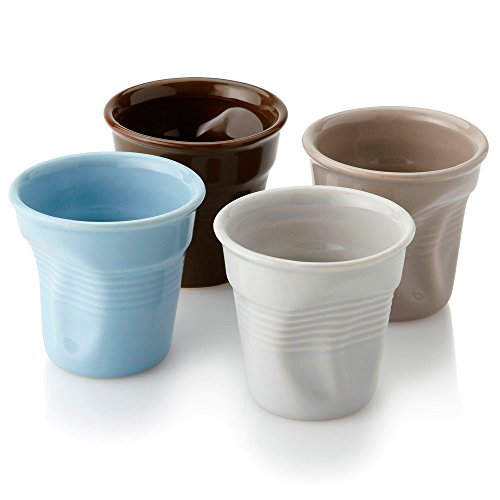 eBuyGB - Lot de Tasses - Style gobelets froissés - pour café, Expresso - en céramique - Multicolores - 14,2 x 13,59 x 7,19 cm