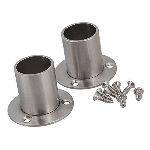 BQLZR Edelstahl-Rohr Flansch Sockel Rod Halterung Halter für 25mm Durchmesser Rohr Hardware Packung mit 2