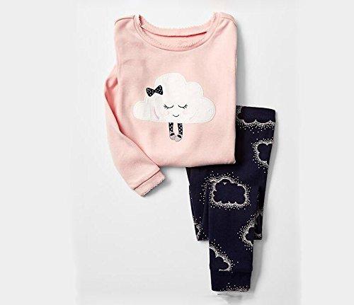 Mädchen Pyjamas Sets Kinder Kleidung Set Baumwolle Kleinkind Nette Coulds Pjs Nachtwäsche 6-7Y (Mädchen Nettes Schlafanzug)