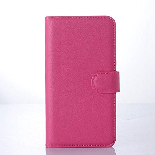 Tasche für Microsoft Lumia 640 Dual-SIM Hülle, Ycloud PU Ledertasche Flip Cover Wallet Case Handyhülle mit Stand Function Credit Card Slots Bookstyle Purse Design Rose Red