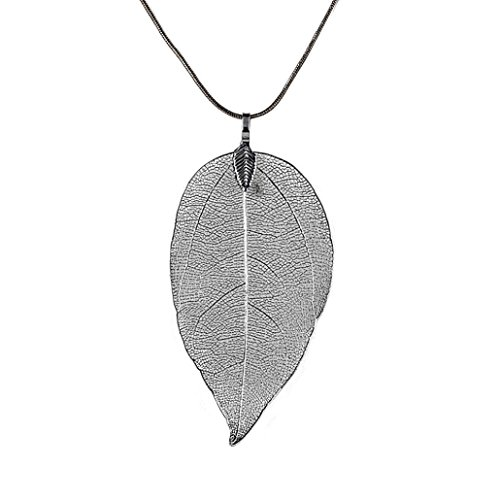 Kette Schmuck Halskette Damen DAY.LIN Frauen Spezielle Blätter Blatt Pullover Anhänger Halskette Damen Lange Kette Schmuck (Schwarz)