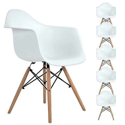 Lot de 6 chaise de salle à manger, Ajie Fauteuil de chaise latérale design rétro avec jambe de bois de hêtre massif - blanc