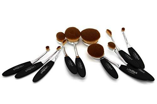 Littleblack Cosmetics 10pc ovale Lot de brosse de maquillage (Argent/noir)