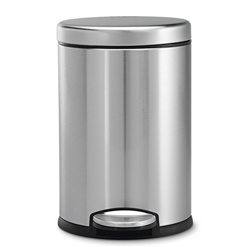 Mofna Industries Stainless Steel Plain Pedal Dustbin/Plain Pedal Garbage Bin with Plastic Bucket- (10 X 14 Inch) 11 Liter Silver Clour
