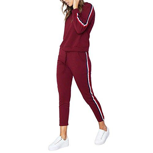 Younthone Bekleidung,josen Damen,Frauen Trainingsanzug Hoodies Sweatshirt Top Hosen Sets Sport Wear Freizeitanzug,19070817 (XXXL,rot) (Für Frauen Smoking Short-set)