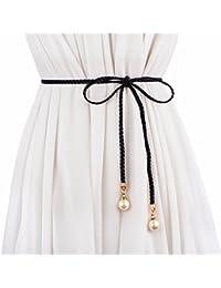 ZHAOJIANING Mode Dames tressé Fine Ceinture Frange décoration Taille Corde  nouée Robe ... e769e51eb50