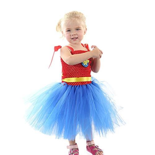 Tanz Stück Kostüm 2 Lyrischen Blau - ZONA Elegent Mädchen Kleid Kostüm Ärmellos Tüll Patchwork Ballett Tanz Knielangen Halloween Ostern Karneval Süße Party Patchwork Blau Bezaubernd (Color : Blue, Size : S)