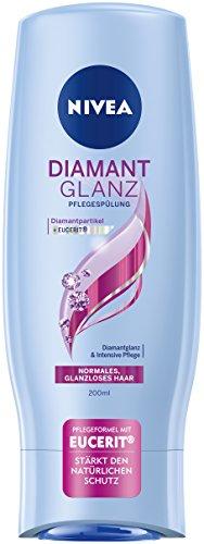 Nivea 4er Pack Haar-Pflegespülung für normales, glanzloses Haar, 4 x 200 ml Flasche, Diamant Glanz