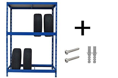 Sehr stabiles Reifenregal |  179 x 130 x 50 cm |  Hochwertig blau pulverbeschichtet |  130 cm breit |  1 Boden max. 200 kg Tragkraft |  Werkstattregal Reifenständer...