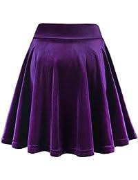 FISOUL Mini Falda Elástica Patinadora de Terciopelo de Retro
