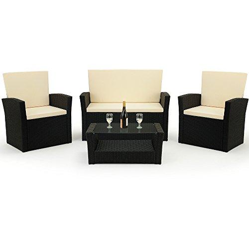 10 tlg. Polyrattan Sitzgruppe mit Glastisch – Sitzgarnitur Rattan Lounge mit 7cm dicken Sitzauflagen - 3
