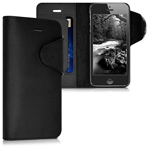 kalibri-Echtleder-Wallet-Hlle-fr-Apple-iPhone-SE-5-5S-Case-mit-Fach-und-Stnder-in-Schwarz