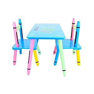 oypla childrens wooden crayon table and chairs set kids electronics. Black Bedroom Furniture Sets. Home Design Ideas