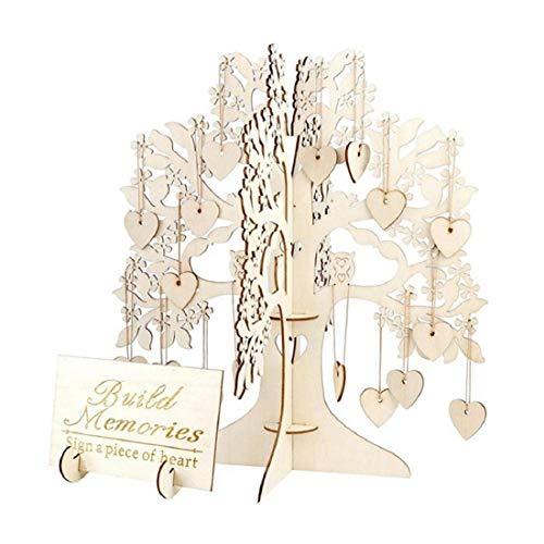 Nicolarisin Liebe Anhänger, Wishing Tree Label aus Holz Hochzeit Gästebuch Baum Holz Herzen Anhänger Drop Ornamente Party Dekoration (Buch Baby-dusche-zeichen In)