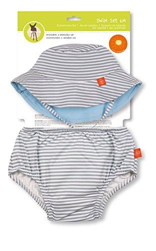 LÄSSIG Baby Kinder Bade Set Hut (wendbar) und Schwimmwindel waschbar Auslaufschutz UV-Schutz 50+/Baby Swim Set  boys, Submarine, 18 Monate, grau Boy Set