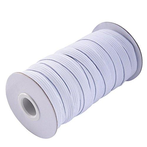 Weiß FLACH elastischer Kordel für Qualität Nähen und Schneiden, dehnbare Saite für Gurtbänder, Träger, Armbänder, Dessous, Bänder und Stoff Handwerk, weiß, 4 mm x 200 yards