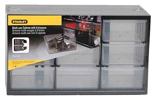 Preisvergleich Produktbild Stanley Kleinteilemagazin mit 9 Schubladen, 37 x 21 x 16 cm, bruchfester Kunststoffrahmen, an Wand montierbar, 1-93-978