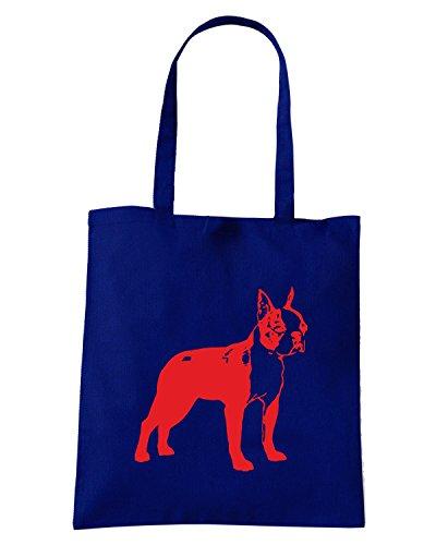 T-Shirtshock - Borsa Shopping FUN1243 dog breed decal 34a 68434 Blu Navy