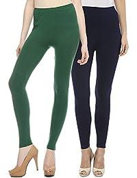 Sakhi Sang Leggings Pack of 2 : Green & Navy Blue